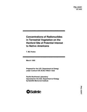 Primary view of object titled 'Concentrations of radionuclides in terrestrial vegetation on the Hanford site of potential interest to Native Americans'.