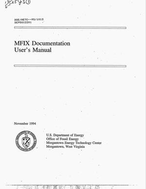 Primary view of object titled 'MFIX documentation: User`s manual'.