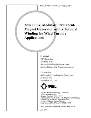 Primary view of object titled 'Axial flux, modular, permanent-magnet generator with a toroidal winding for wind turbine applications'.