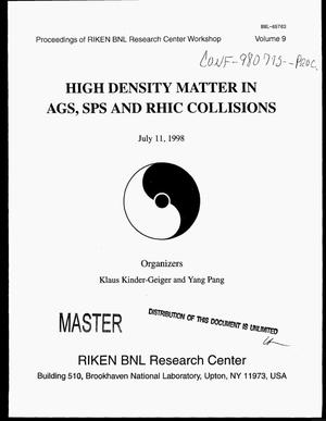 Primary view of object titled 'High density matter in AGS, SPS and RHIC collisions: Proceedings. Volume 9'.