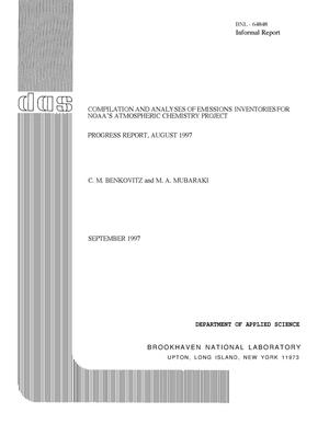 Primary view of object titled 'COMPILATION AND ANALYSES OF EMISSIONS INVENTORIES FOR THE NOAA ATMOSPHERIC CHEMISTRY PROJECT. PROGRESS REPORT, AUGUST 1997.'.
