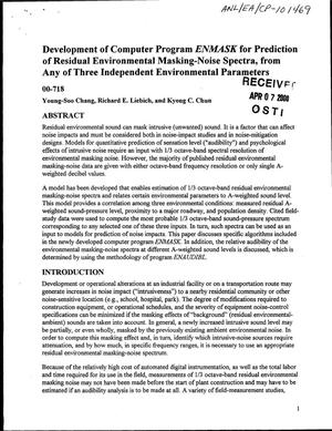 Primary view of object titled 'Development of computer program ENMASK for prediction of residual environmental masking-noise spectra, from any three independent environmental parameters'.