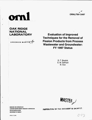 Primary view of object titled 'Evaluation of improved techniques for the removal of fission products from process wastewater and groundwater: FY 1997 status'.
