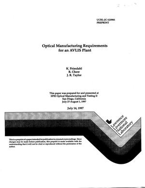 Primary view of object titled 'Optical manufacturing requirements for an AVLIS plant'.