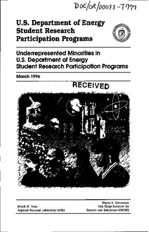Primary view of object titled 'U.S. Department of Energy student research participation programs. Underrepresented minorities in U.S. Department of Energy student research participation programs'.