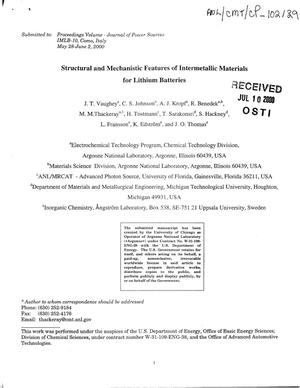 Primary view of object titled 'Structural and mechanistic features of intermetallic materials for lithium batteries.'.