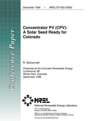 Primary view of object titled 'Concentrator PV (CPV): A Solar Seed Ready for Colorado'.