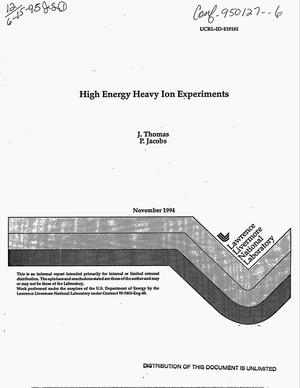 Primary view of object titled 'High energy heavy ion experiments'.