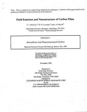 Primary view of object titled 'Field Emission and Nanostructure of Carbon Films'.