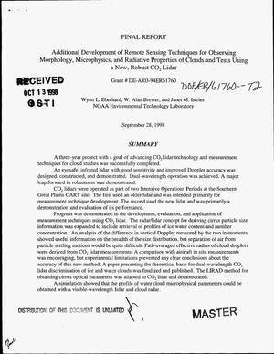 Primary view of object titled 'Additional development of remote sensing techniques for observing morphology, microphysics, and radiative properties of clouds and tests using a new, robust CO{sub 2} lidar. Final report'.