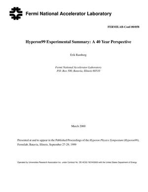 Primary view of object titled 'Hyperon99 experimental summary: A 40 year perspective'.