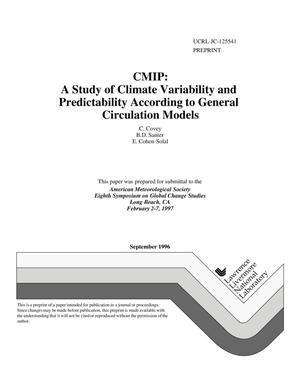Primary view of object titled 'CMIP: a study of climate variability and predictability according to general circulation models'.