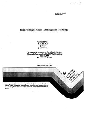 Primary view of object titled 'Laser peening of metals- enabling laser technology'.