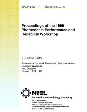 Primary view of object titled 'Proceedings of the 1999 Photovoltaic Performance and Reliability Workshop'.