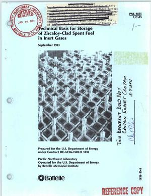 Primary view of object titled 'Technical basis for storage of Zircaloy-clad spent fuel in inert gases'.