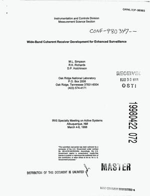 Primary view of object titled 'Wide-band coherent receiver development for enhanced surveillance'.