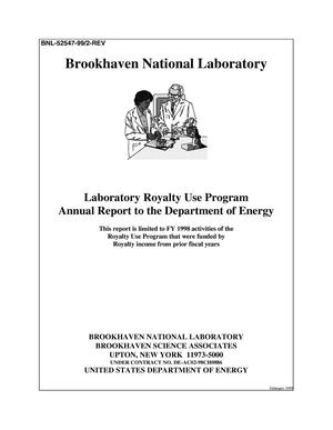 Primary view of object titled 'LABORATORY ROYALTY USE PROGRAM ANNUAL REPORT TO THE DEPARTMENT OF ENERGY'.