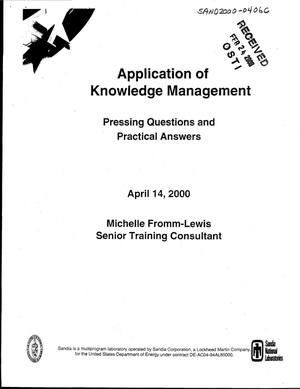 Primary view of object titled 'Application of Knowledge Management: Pressing questions and practical answers'.