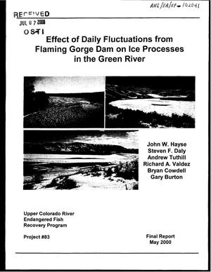 Primary view of object titled 'Effect of daily fluctuations from Flaming Gorge Dam in ice processes in the Green River.'.