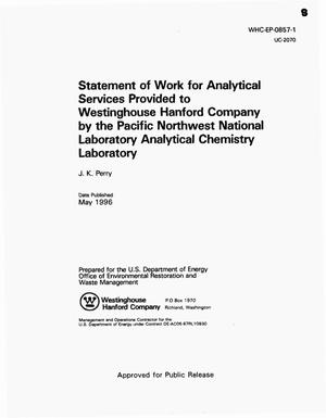 Primary view of object titled 'Statement of work for analytical services provided to Westinghouse Hanford Company by the Pacific Northwest National Laboratory analytical chemistry laboratory'.