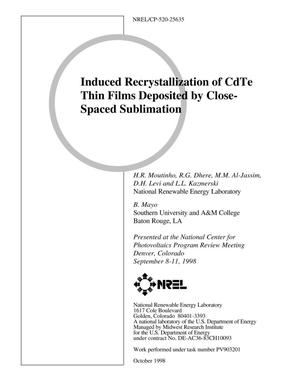 Primary view of object titled 'Induced Recrystallization of CdTe Thin Films Deposited by Close-Spaced Sublimation'.