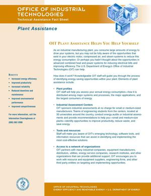 Primary view of object titled 'Plant assistance: OIT plant assistance helps you help yourself: Office of Industrial Technologies technical assistance fact sheet'.