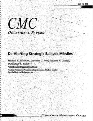 Primary view of object titled 'Cooperative Monitoring Center Occasional Paper/9: De-Alerting Strategic Ballistic Missiles'.