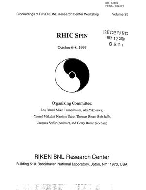 Primary view of object titled 'Proceedings of RIKEN BNL Research Center workwhop on RHIC spin'.