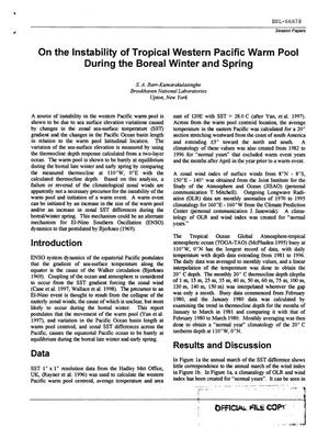 Primary view of object titled 'ON THE INSTABILITY OF TROPICAL WESTERN PACIFIC WARM POOL DURING THE BOREAL WINTER AND SPRING'.