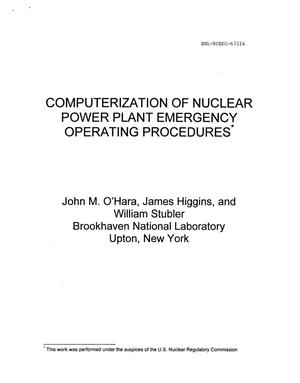Primary view of object titled 'COMPUTERIZATION OF NUCLEAR POWER PLANT EMERGENCY OPERATING PROCE DURES.'.