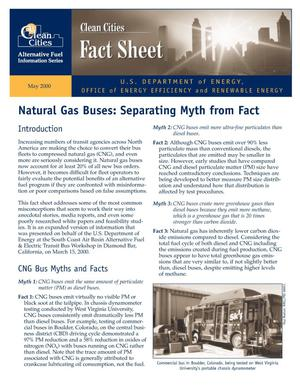 Primary view of object titled 'Natural gas buses: Separating myth from fact (Clean Cities alternative fuel information series fact sheet)'.