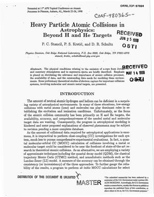 Primary view of object titled 'Heavy particle atomic collisions in astrophysics: Beyond H and He targets'.