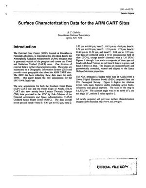 Primary view of object titled 'SURFACE CHARACTERIZATION DATA FOR THE ARM CART SITES.'.