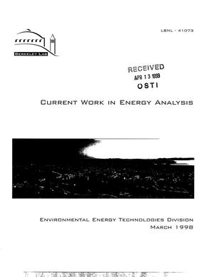 Primary view of object titled 'Current Work in Energy Analysis (Energy Analysis Program -1996 Annual Report)'.