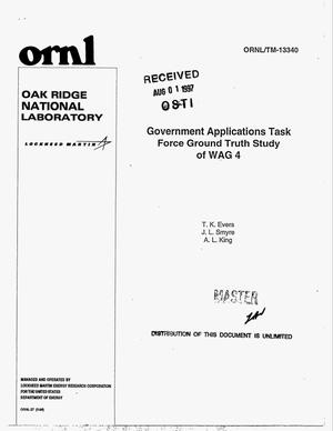 Primary view of object titled 'Government Applications Task Force ground truth study of WAG 4'.