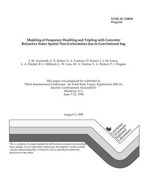 Primary view of object titled 'Modeling of frequency doubling and tripling with converter refractive index spatial non-uniformities due to gravitational sag'.
