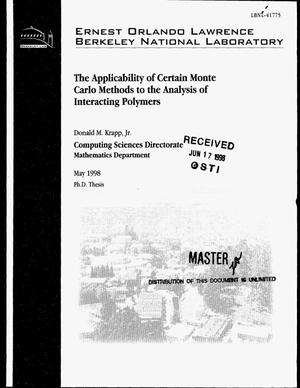 Primary view of object titled 'The applicability of certain Monte Carlo methods to the analysis of interacting polymers'.