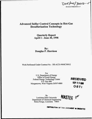 Primary view of object titled 'Advanced sulfur control concepts in hot-gas desulfurization technology. Quarterly report, April 1--June 30, 1998'.