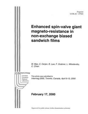Primary view of object titled 'Enhanced spin-valve giant magneto-resistance in non-exchange biased sandwich films'.