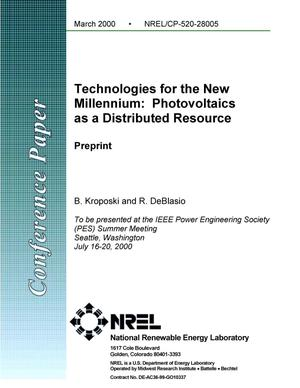 Primary view of object titled 'Technologies for the new millennium: Photovoltaics as a distributed resource'.
