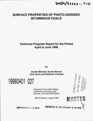 Primary view of object titled 'Surface properties of photo-oxidized bituminous coals. Technical progress report for the period April to June, 1996'.
