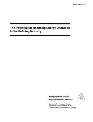 Primary view of object titled 'The potential for reducing energy utilization in the refining industry'.