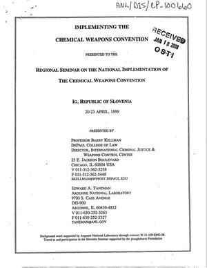 Primary view of object titled 'Implementing the chemical weapons convention'.