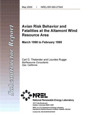 Primary view of object titled 'Avian risk behavior and fatalities at the Altamont Wind Resource Area: March 1998 - February 1999'.