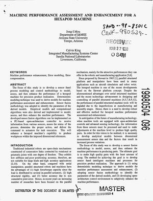 Primary view of object titled 'Machine performance assessment and enhancement for a hexapod machine'.