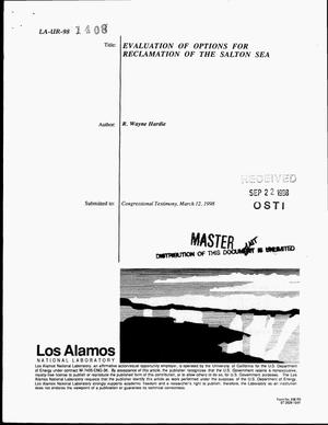 Primary view of object titled 'Evaluation of options for reclamation of the Salton Sea'.