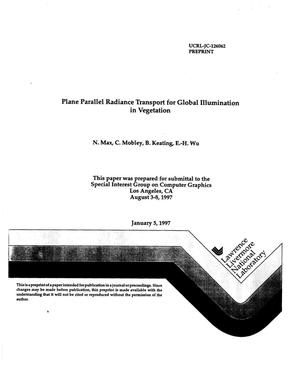 Primary view of object titled 'Plane parallel radiance transport for global illumination in vegetation'.