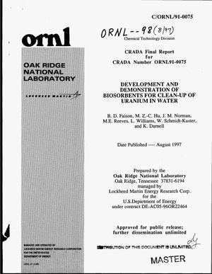 Primary view of object titled 'Development and demonstration of biosorbents for clean-up of uranium in water. CRADA final report'.