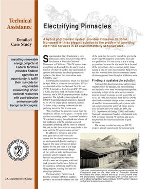 Primary view of object titled 'Electrifying Pinnacles: FEMP technical assistance detailed case study fact sheet[Pinnacles National Monument]'.