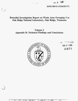 Primary view of object titled 'Remedial investigation report on Waste Area Grouping 5 at Oak Ridge National Laboratory, Oak Ridge, Tennessee. Volume 3, Appendix B, Technical findings and conclusions'.
